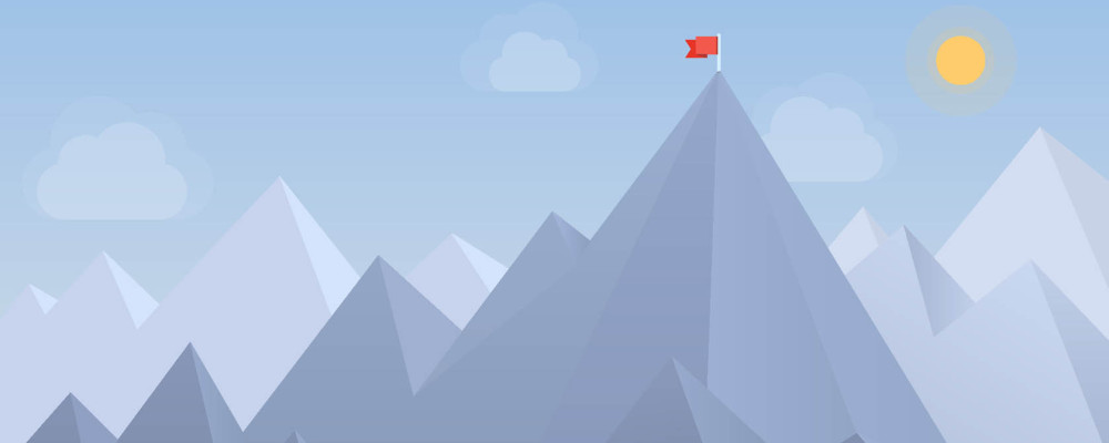 Flat design modern vector illustration concept with copy space of flag on the mountain peak, meaning overcoming difficulties, goals achievement, winning strategy with focus on results. Isolated on blue background.